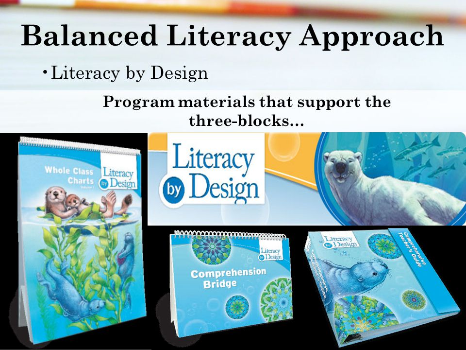 Balanced Literacy Approach Literacy by Design Program materials that support the three-blocks…