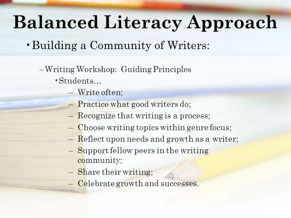 Balanced Literacy Approach Building a Community of Writers: –Writing Workshop: Guiding Principles Students… – Write often; – Practice what good writers do; – Recognize that writing is a process; – Choose writing topics within genre focus; – Reflect upon needs and growth as a writer; – Support fellow peers in the writing community; – Share their writing; – Celebrate growth and successes.