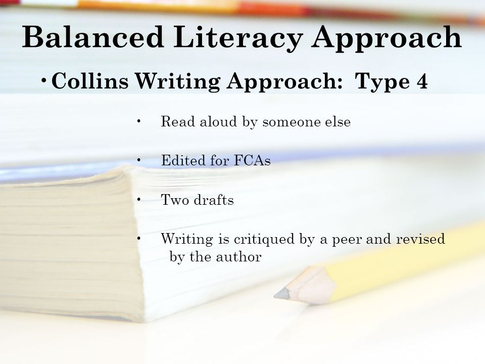 Balanced Literacy Approach Collins Writing Approach: Type 4 Read aloud by someone else Edited for FCAs Two drafts Writing is critiqued by a peer and revised by the author