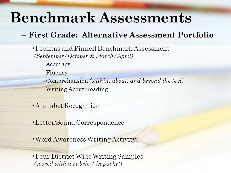 Benchmark Assessments – First Grade: Alternative Assessment Portfolio Fountas and Pinnell Benchmark Assessment (September/October & March/April) –Accuracy –Fluency –Comprehension (within, about, and beyond the text) –Writing About Reading Alphabet Recognition Letter/Sound Correspondence Word Awareness Writing Activity Four District Wide Writing Samples (scored with a rubric / in packet)