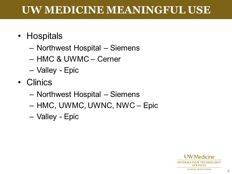 UW MEDICINE MEANINGFUL USE 2 Hospitals –Northwest Hospital – Siemens –HMC & UWMC – Cerner –Valley - Epic Clinics –Northwest Hospital – Siemens –HMC, UWMC, UWNC, NWC – Epic –Valley - Epic