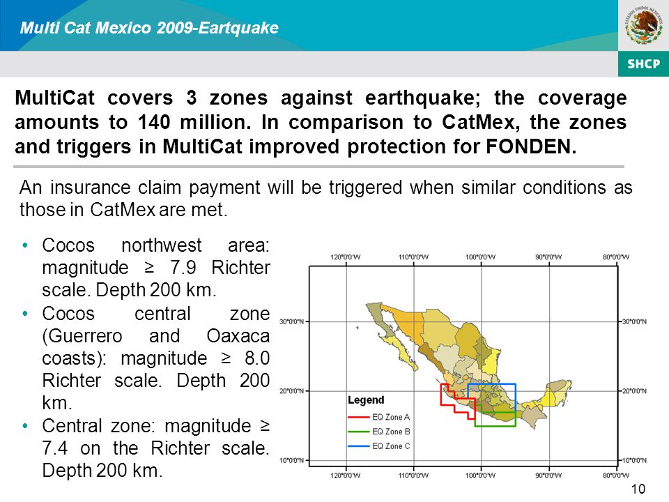 Multi Cat Mexico 2009-Eartquake 10 Cocos northwest area: magnitude ≥ 7.9 Richter scale.