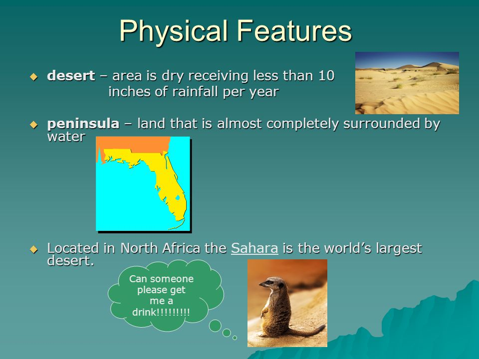 Physical Features  desert – area is dry receiving less than 10 inches of rainfall per year inches of rainfall per year  peninsula – land that is alm