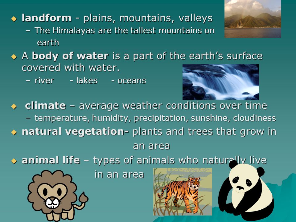  landform - plains, mountains, valleys –The Himalayas are the tallest mountains on earth earth  A body of water is a part of the earth's surface cov