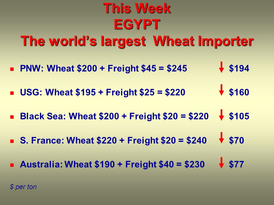 This Week EGYPT The world's largest Wheat Importer PNW: Wheat $200 + Freight $45 = $245$194 USG: Wheat $195 + Freight $25 = $220$160 Black Sea: Wheat $200 + Freight $20 = $220$105 S.