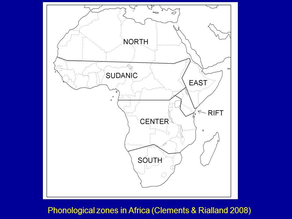 Phonological zones in Africa (Clements & Rialland 2008)