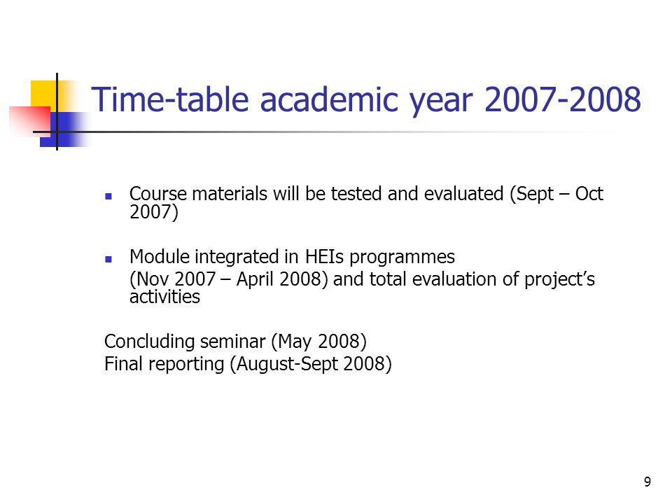 9 Time-table academic year 2007-2008 Course materials will be tested and evaluated (Sept – Oct 2007) Module integrated in HEIs programmes (Nov 2007 –
