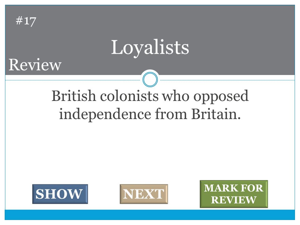 British colonists who opposed independence from Britain.