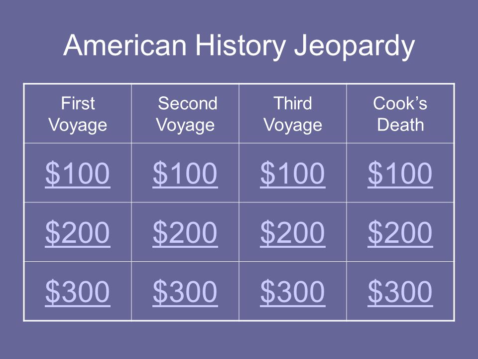 American History Jeopardy First Voyage Second Voyage Third Voyage Cook's Death $100 $200 $300
