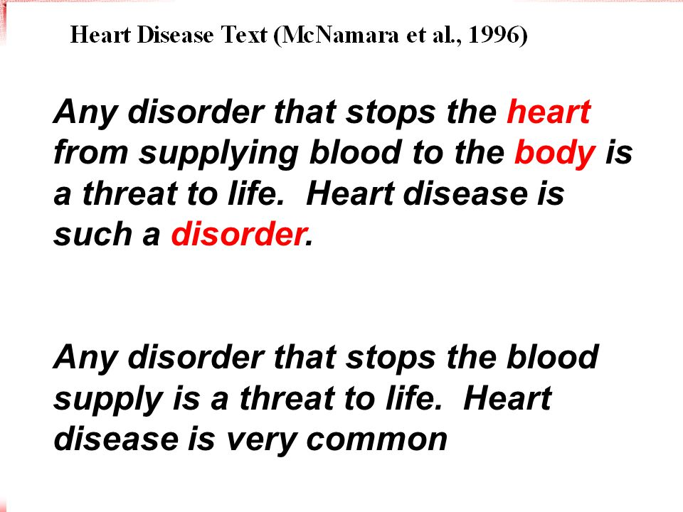 Argument overlap F-K easy hard Any disorder that stops the heart from supplying blood to the body is a threat to life.