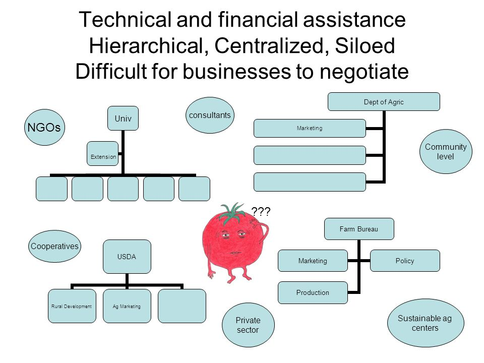 Technical and financial assistance Hierarchical, Centralized, Siloed Difficult for businesses to negotiate Univ Extension Dept of Agric Marketing USDA Rural Development Ag Marketing Farm Bureau MarketingPolicy Production NGOs Community level Sustainable ag centers Cooperatives consultants Private sector