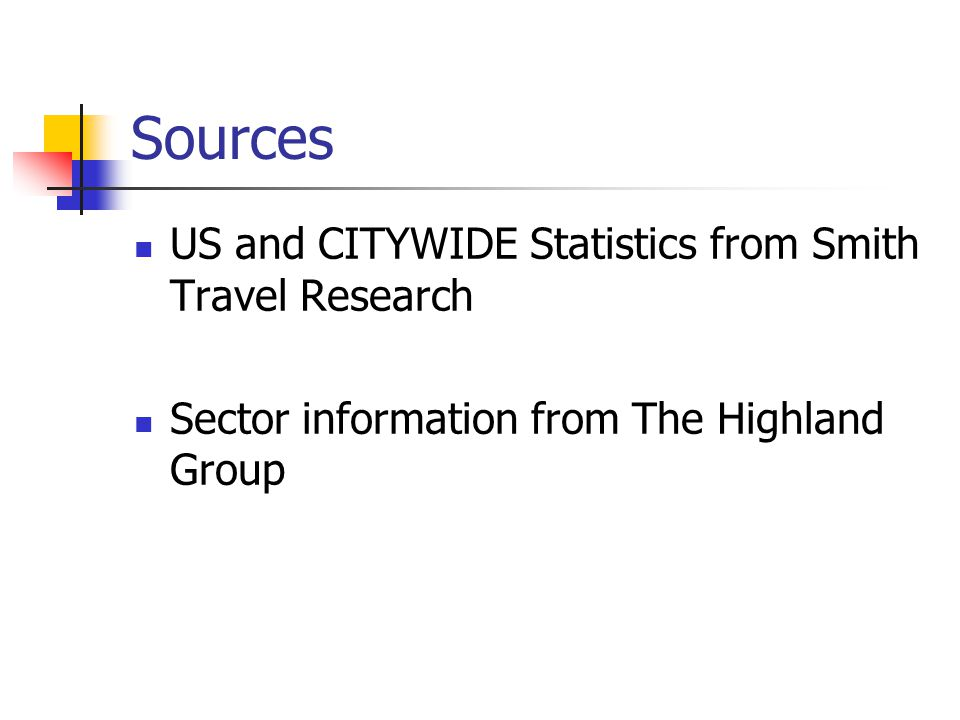 Sources US and CITYWIDE Statistics from Smith Travel Research Sector information from The Highland Group