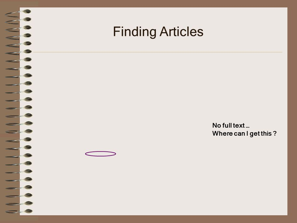 Finding Articles No full text … Where can I get this ?