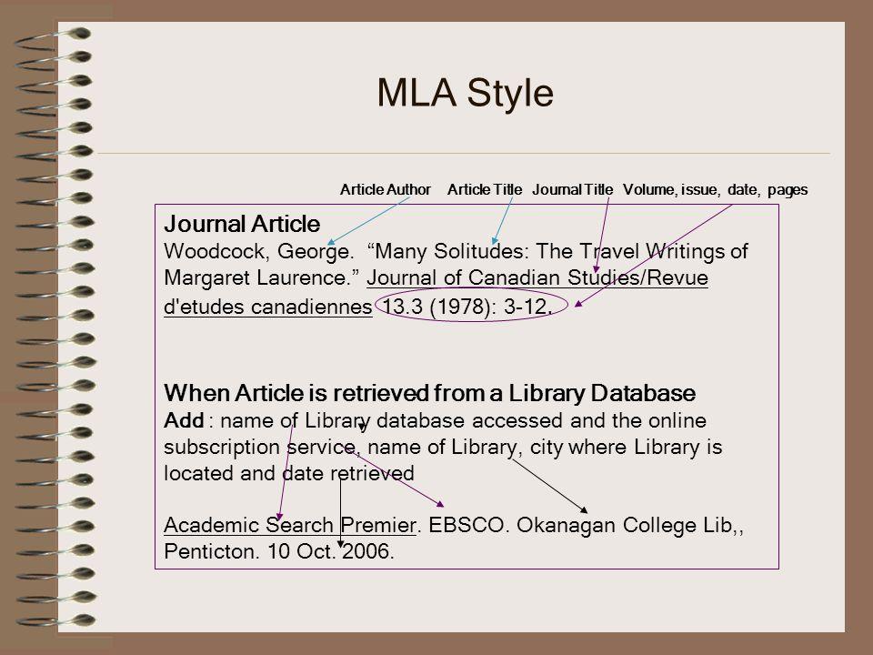MLA Style Journal Article Woodcock, George.