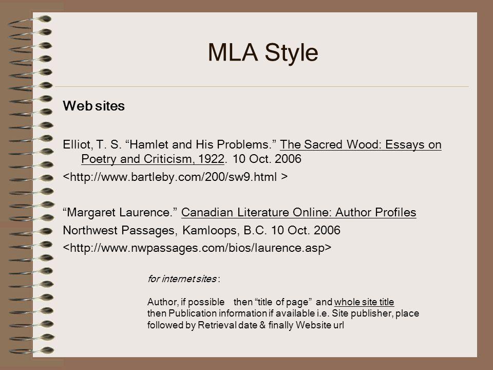 MLA Style Web sites Elliot, T.S.