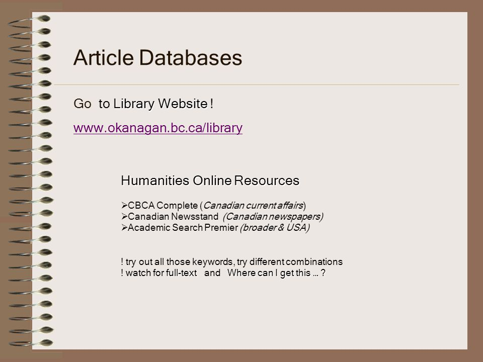 Library Website Article Databases Go to Library Website .