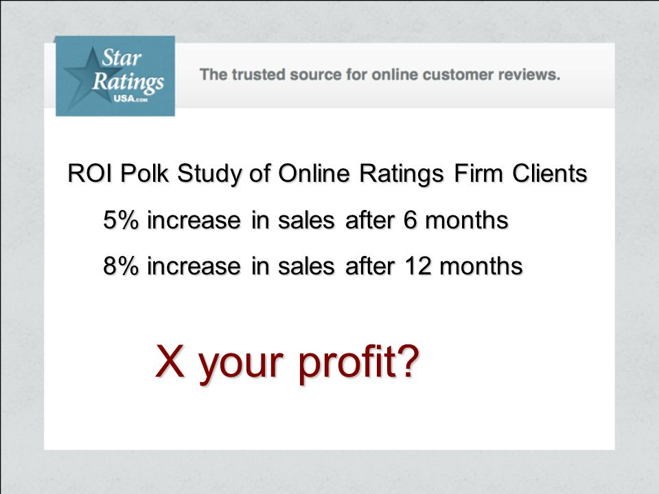 ROI Polk Study of Online Ratings Firm Clients 5% increase in sales after 6 months 5% increase in sales after 6 months 8% increase in sales after 12 months 8% increase in sales after 12 months X your profit