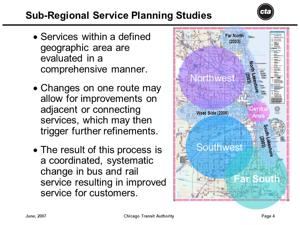 Chicago Transit AuthorityJune, 2007 Page 4 Sub-Regional Service Planning Studies  Services within a defined geographic area are evaluated in a comprehensive manner.