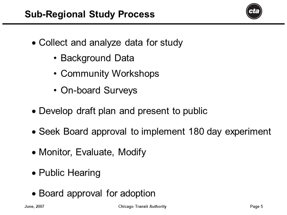 Chicago Transit AuthorityJune, 2007 Page 5  Collect and analyze data for study Background Data Community Workshops On-board Surveys  Develop draft plan and present to public  Seek Board approval to implement 180 day experiment  Monitor, Evaluate, Modify  Public Hearing  Board approval for adoption Sub-Regional Study Process