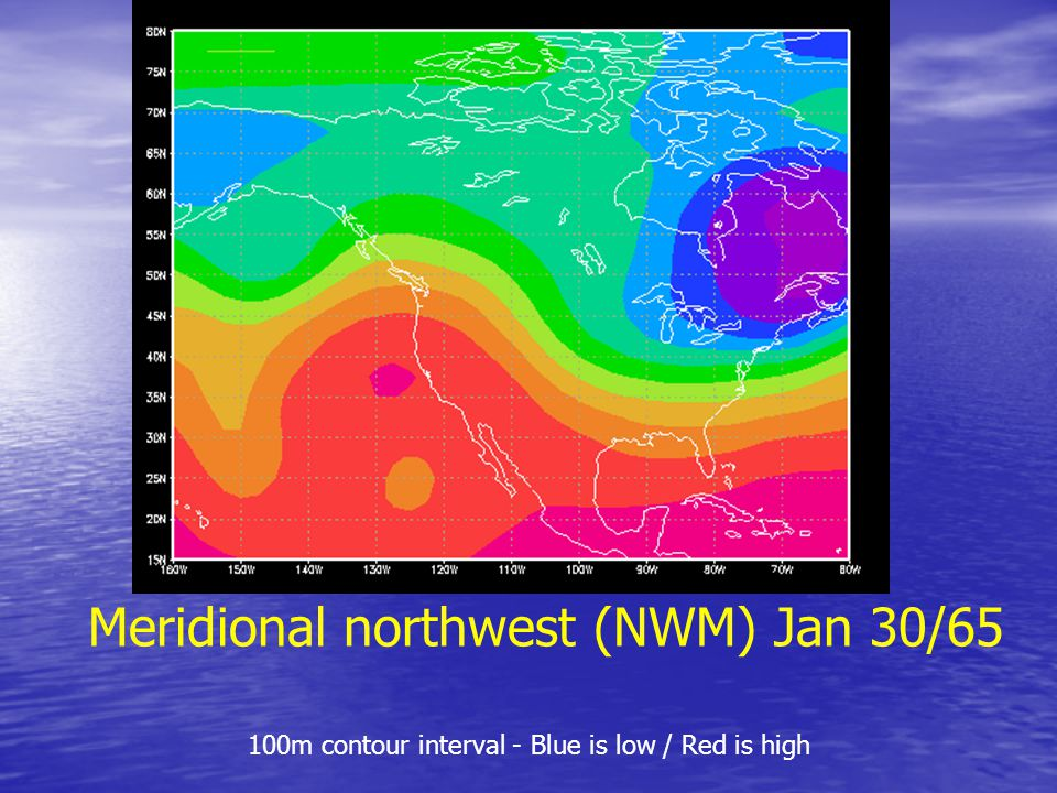 Meridional northwest (NWM) Jan 30/65 100m contour interval - Blue is low / Red is high