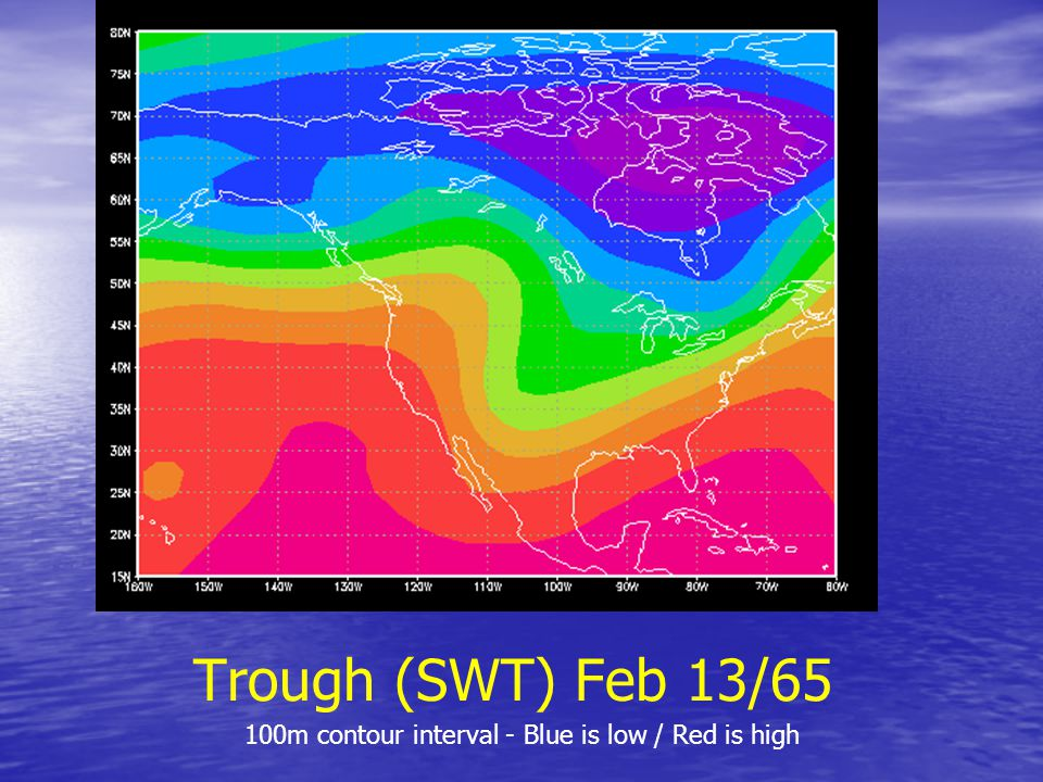 Trough (SWT) Feb 13/65 100m contour interval - Blue is low / Red is high