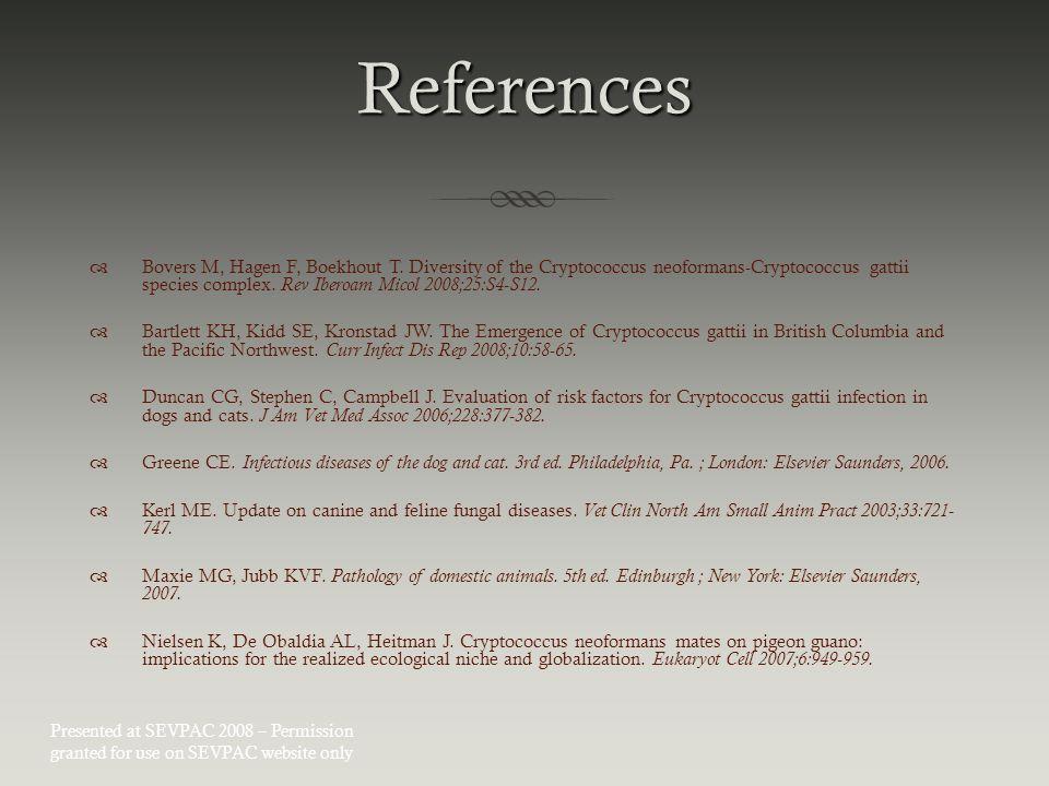 References  Bovers M, Hagen F, Boekhout T.