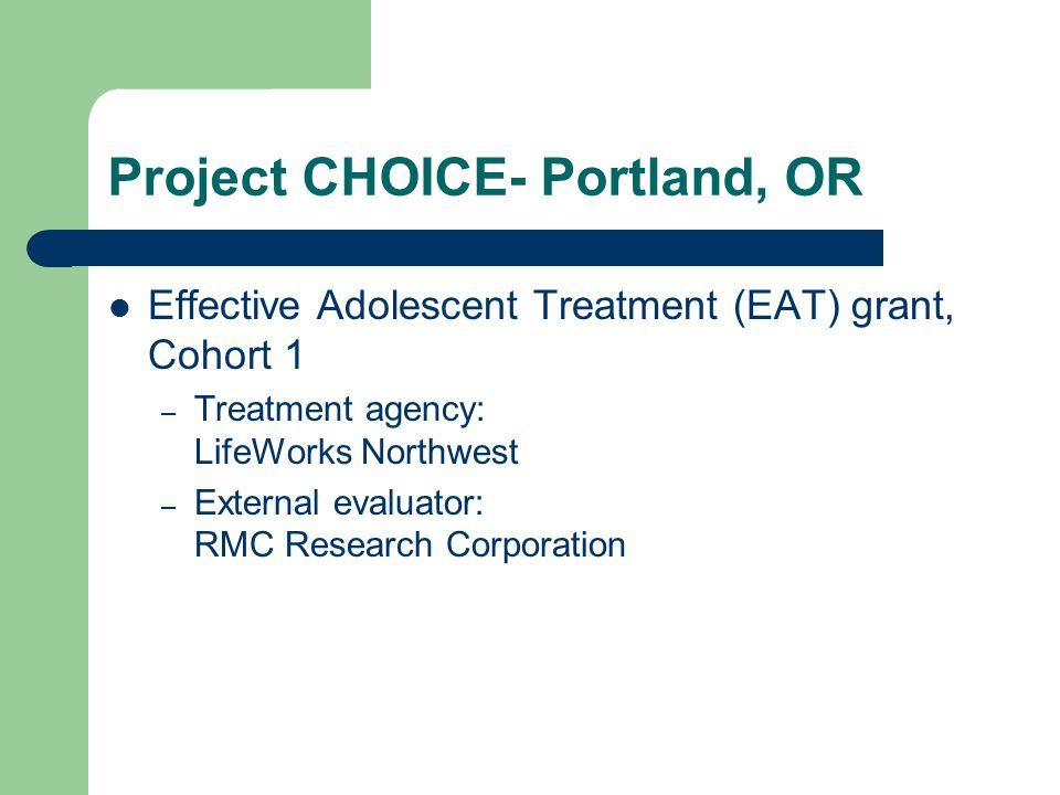 Project CHOICE- Portland, OR Effective Adolescent Treatment (EAT) grant, Cohort 1 – Treatment agency: LifeWorks Northwest – External evaluator: RMC Research Corporation