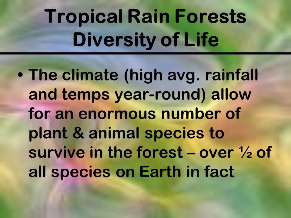 Tropical Rain Forests Diversity of Life The climate (high avg. rainfall and temps year-round) allow for an enormous number of plant & animal species t