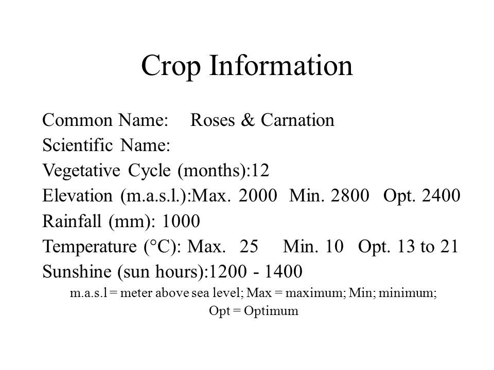 Crop Information Common Name:Roses & Carnation Scientific Name: Vegetative Cycle (months):12 Elevation (m.a.s.l.):Max. 2000Min. 2800 Opt. 2400 Rainfal
