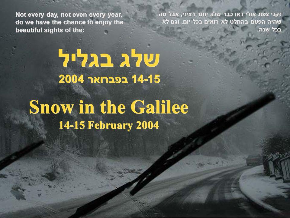 Snow in the Galilee 14-15 February 2004 שלג בגליל 14-15 בפברואר 2004 זקני צפת אולי ראו כבר שלג יותר רציני, אבל מה שהיה הפעם בהחלט לא רואים בכל יום, וגם לא בכל שנה.