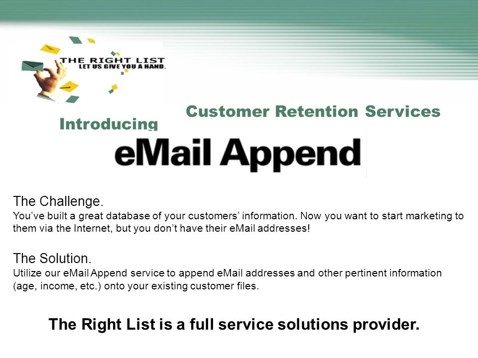 Customer Retention Services Introducing The Challenge.