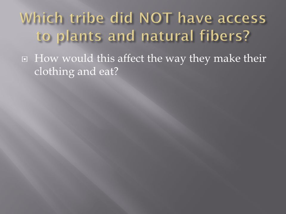  How would this affect the way they make their clothing and eat?