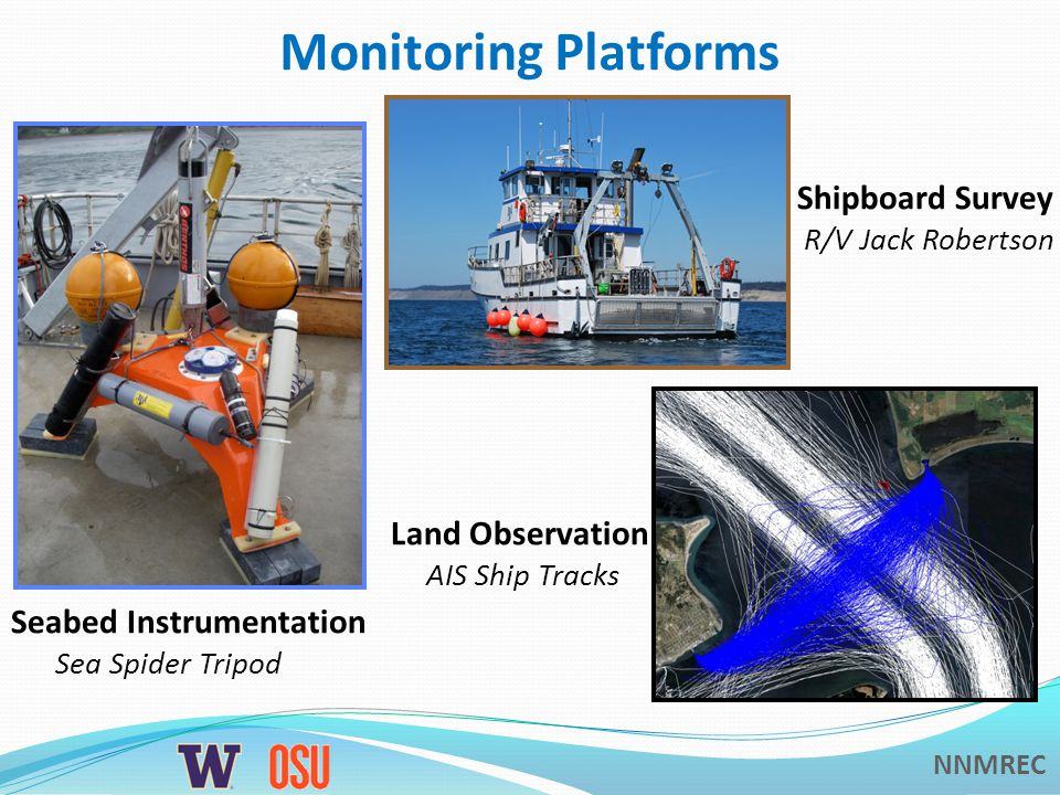 NNMREC Monitoring Platforms Seabed Instrumentation Sea Spider Tripod Shipboard Survey R/V Jack Robertson Land Observation AIS Ship Tracks