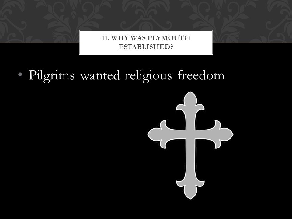 Pilgrims wanted religious freedom 11. WHY WAS PLYMOUTH ESTABLISHED