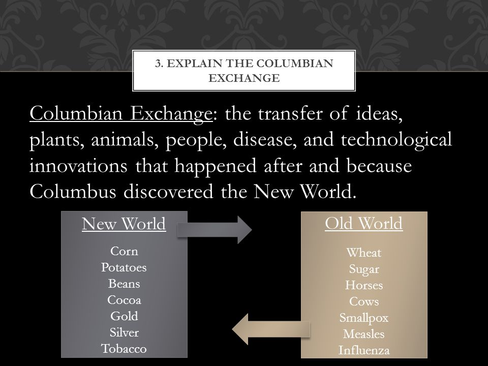 Columbian Exchange: the transfer of ideas, plants, animals, people, disease, and technological innovations that happened after and because Columbus discovered the New World.