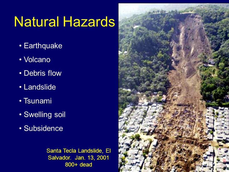 Natural Hazards Earthquake Volcano Debris flow Landslide Tsunami Swelling soil Subsidence Santa Tecla Landslide, El Salvador. Jan. 13, 2001 800+ dead
