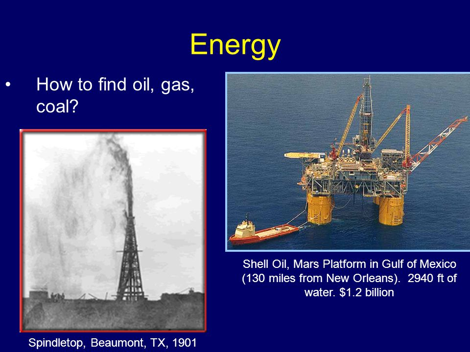 Energy How to find oil, gas, coal.