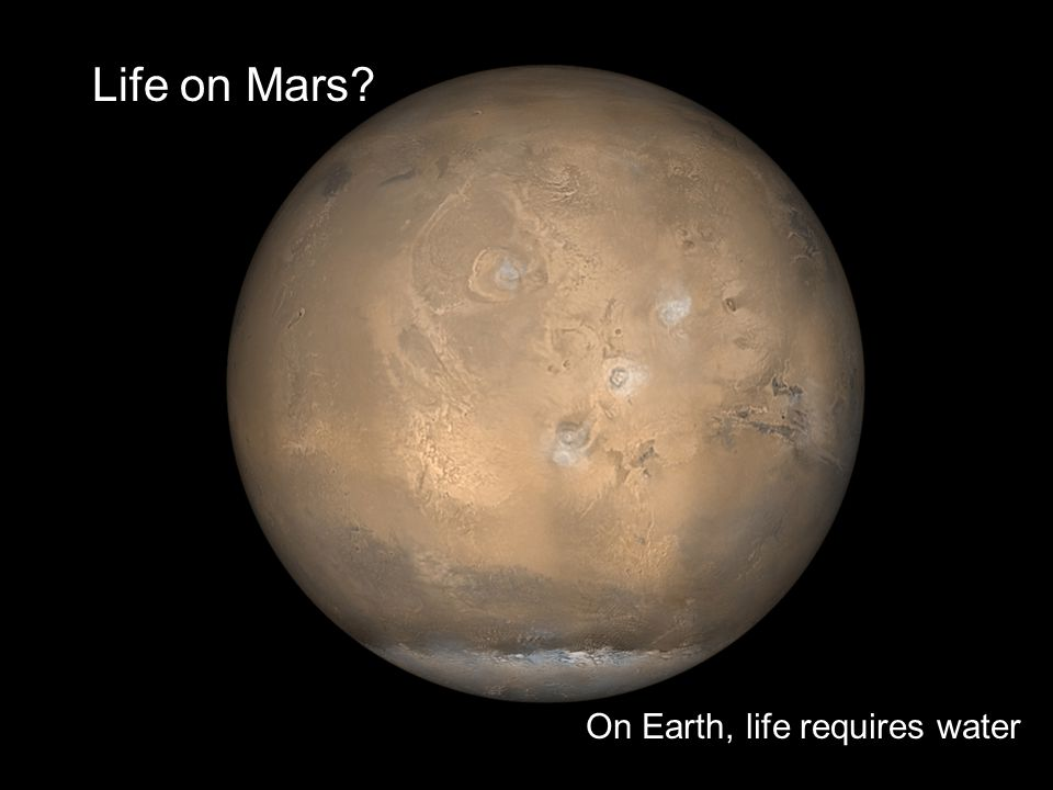 Life on Mars On Earth, life requires water