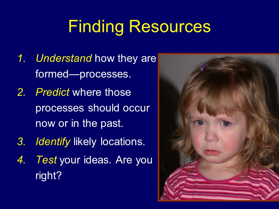 Finding Resources 1.Understand how they are formed—processes.