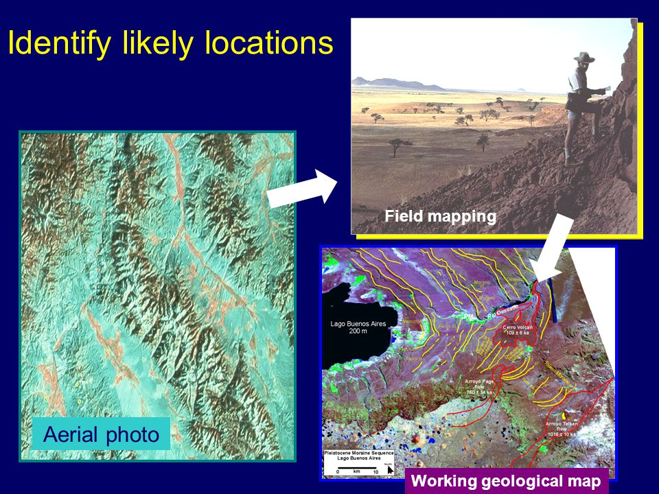 Identify likely locations Aerial photo Field mapping Working geological map