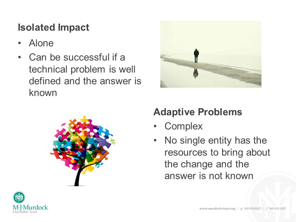 Isolated Impact Alone Can be successful if a technical problem is well defined and the answer is known Adaptive Problems Complex No single entity has the resources to bring about the change and the answer is not known