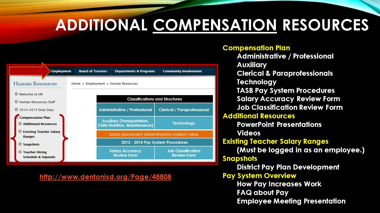 ADDITIONAL COMPENSATION RESOURCES Compensation Plan Administrative / Professional Auxiliary Clerical & Paraprofessionals Technology TASB Pay System Procedures Salary Accuracy Review Form Job Classification Review Form Additional Resources PowerPoint Presentations Videos Existing Teacher Salary Ranges (Must be logged in as an employee.) Snapshots District Pay Plan Development Pay System Overview How Pay Increases Work FAQ about Pay Employee Meeting Presentation http://www.dentonisd.org/Page/48808