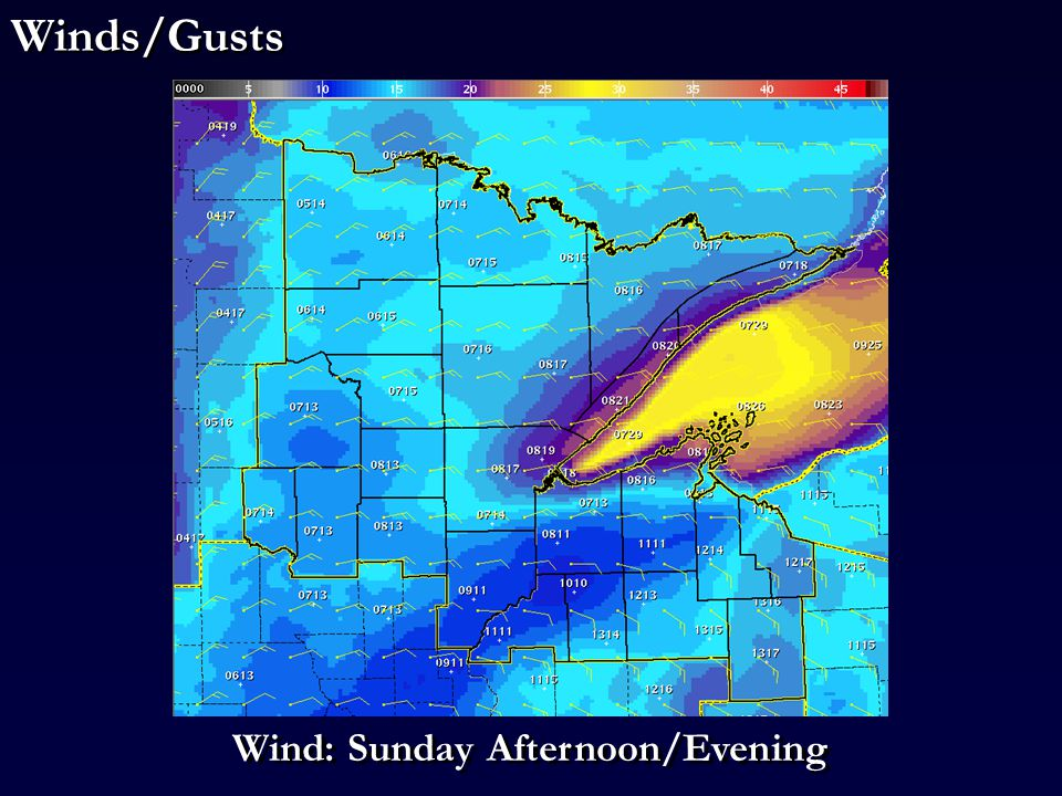 Wind Gusts Wind: Sunday Afternoon/Evening