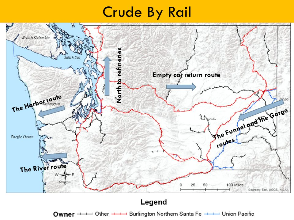 Empty car return route The Funnel and the Gorge routes North to refineries The Harbor route The River route Crude By Rail