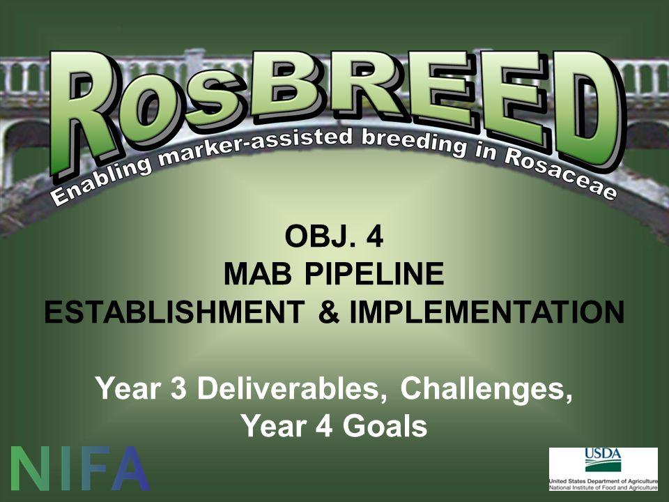 OBJ. 4 MAB PIPELINE ESTABLISHMENT & IMPLEMENTATION Year 3 Deliverables, Challenges, Year 4 Goals