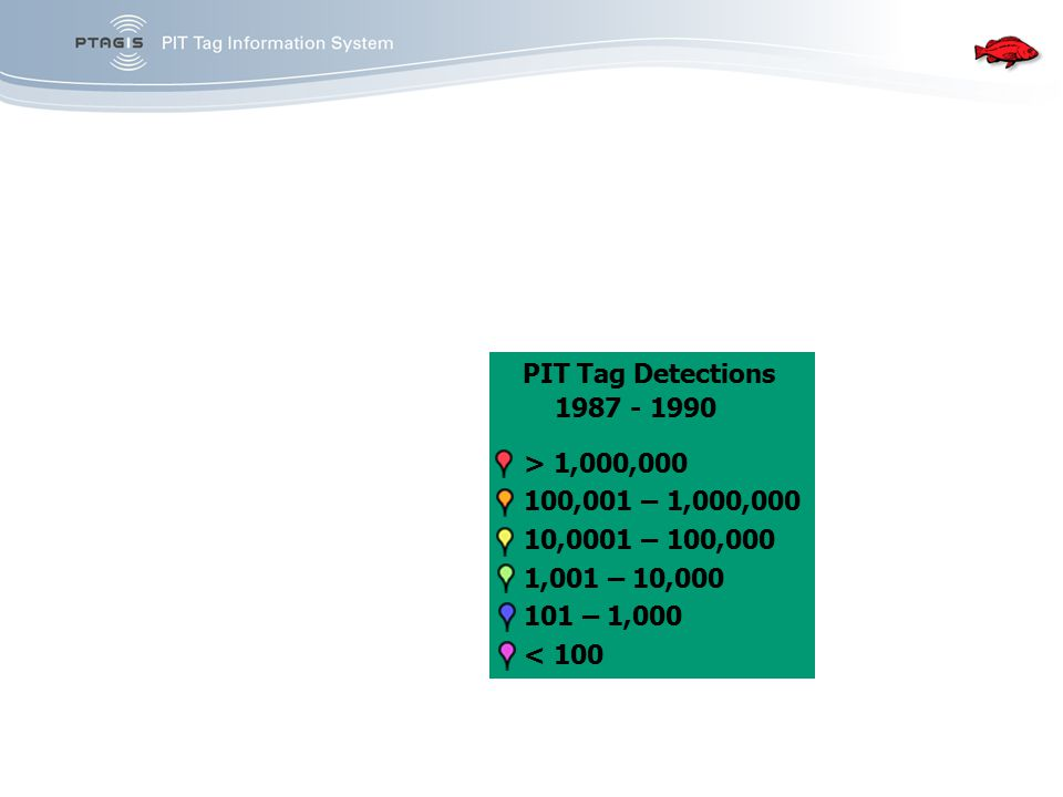 PIT Tag Detections 1987 - 1990 > 1,000,000 100,001 – 1,000,000 10,0001 – 100,000 1,001 – 10,000 101 – 1,000 < 100