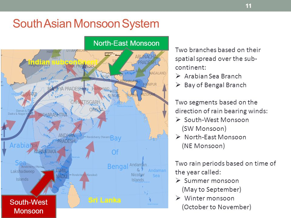South Asian Monsoon System Indian subcontinent Sri Lanka Two branches based on their spatial spread over the sub- continent:  Arabian Sea Branch  Bay of Bengal Branch Two segments based on the direction of rain bearing winds:  South-West Monsoon (SW Monsoon)  North-East Monsoon (NE Monsoon) Two rain periods based on time of the year called:  Summer monsoon (May to September)  Winter monsoon (October to November) North-East Monsoon South-West Monsoon 11