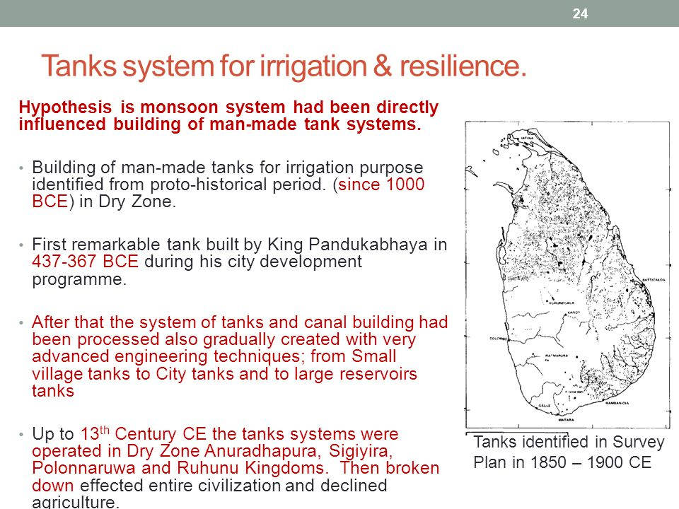 Tanks system for irrigation & resilience.