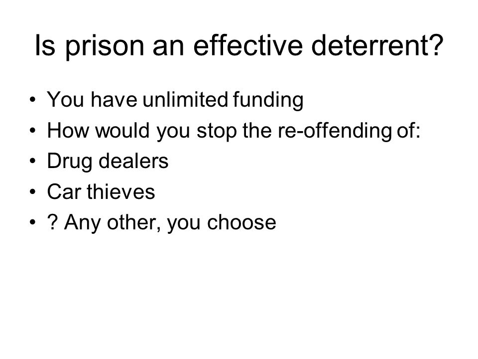 Is prison an effective deterrent? You have unlimited funding How would you stop the re-offending of: Drug dealers Car thieves ? Any other, you choose
