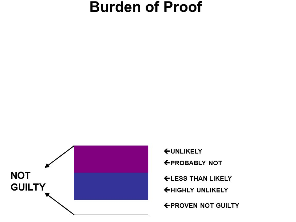 Burden of Proof  UNLIKELY  PROBABLY NOT  LESS THAN LIKELY  HIGHLY UNLIKELY  PROVEN NOT GUILTY NOT GUILTY